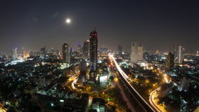 Timelapse of Bangkok life at night, Thailand stock video footage