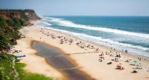 Timelapse Beach on the Indian Ocean. India (tilt shift lens). Stock Photos