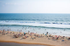 Timelapse Beach on the Indian Ocean. India (tilt shift lens). Royalty Free Stock Photo