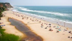 Timelapse Beach on the Indian Ocean. India (tilt shift lens). Stock Photos