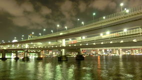 Timelapse of beautiful bridges surrounding the Tokyo Bay. stock video