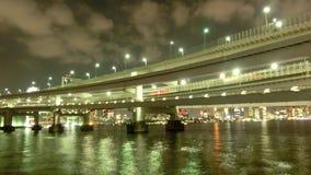 Timelapse of beautiful bridges surrounding the Tokyo Bay. stock video