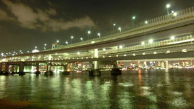 Timelapse of beautiful bridges surrounding the Tokyo Bay. stock footage