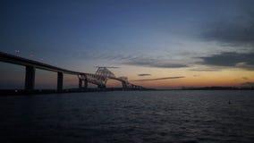 Timelapse of beautiful bridges surrounding the Tokyo Bay. stock video footage