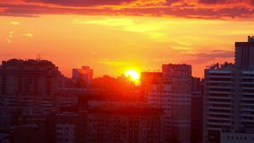 Timelapse of beautiful Cityscape Sunset at. Novosibirsk. Russia 1920x1080 stock video footage