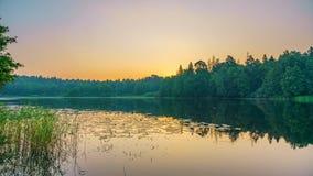 Timelapse of foggy sunrise over forest lake stock video