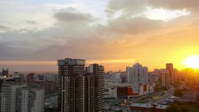 Timelapse of Beautiful sunset over the big city stock video