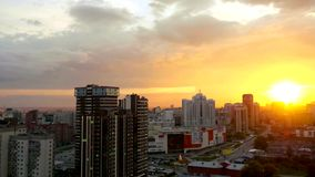 Timelapse of Beautiful sunset over the big city. 1920x1080 stock footage