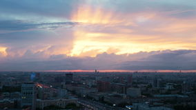 Timelapse. A beautiful sunset over Moscow. Large clouds swim over the city. stock video