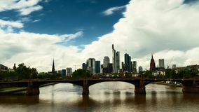 Timelapse - Big clouds over the cityscape of Frankfurt stock video