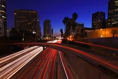 Timelapse-Bild von Los Angeles-Autobahnen bei Sonnenuntergang Stockfotografie