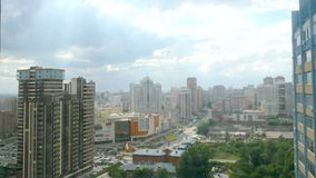 Timelapse of bird view over city of Novosibirsk in stock video footage