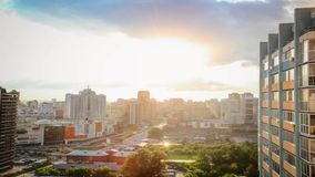 Timelapse of bird view over city of Novosibirsk. Russia stock video footage