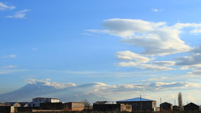 Timelapse of blue, gray clouds on background blue sky stock footage