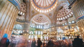 Timelapse of The Blue Mosque interior or Sultanahmet indoors in Istanbul city in Turkey. Timelapse of The Blue Mosque interior or Sultanahmet indoors with moving stock video