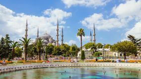 Timelapse of The Blue Mosque or Sultanahmet outdoors in Istanbul city in Turkey. Timelapse of The Blue Mosque or Sultanahmet outdoors with moving people in stock footage