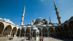 Timelapse of The Blue Mosque or Sultanahmet outdoors in Istanbul city in Turkey. Timelapse of The Blue Mosque or Sultanahmet outdoors with moving people in stock video