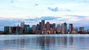 Timelapse of Boston Skyline in Massachusetts stock footage