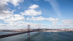 Timelapse of bridge with Tagus river and boats.  stock video footage