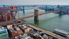 Timelapse of Brooklyn and Manhattan bridges, New York City. USA stock footage