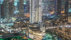Timelapse céntrico de la noche de Dubai Visión superior desde arriba almacen de video