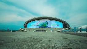 Timelapse Camera Moves along Kazan Arena Football Stadium. KAZAN, TATARSTAN/RUSSIA - AUGUST 07 2014: Timelapse camera moves along Kazan Arena football stadium stock footage