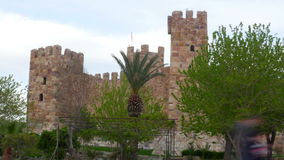 Timelapse of Candarli Castle, Izmir, Turkey, zoom out stock footage