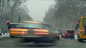 Timelapse of car traffic in winter city. Full HD stock footage