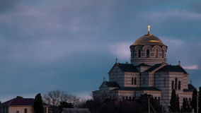 Timelapse Cathedral. Church Cathedral in the background moving clouds. The Orthodox Church in a historic place. Vladimir`s Cathedral Tauric Chersonesos stock video footage