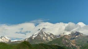 Kazbegi, Georgia. Peak Of Mount Kazbek. stock video