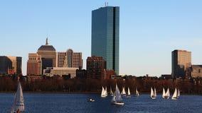 Timelapse centro da cidade da Boston, Massachusetts através do porto 4K filme