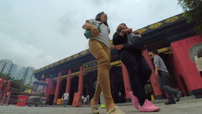 Timelapse of Che Kung taoist temple and Pilgrims stock footage