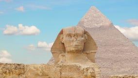 Timelapse Chmury nad ostrosłupem Cheops i sfinks cheops Egypt frontowy Giza ostrosłupa lato V 1 zdjęcie wideo
