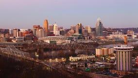 Timelapse of the Cincinnati skyline at sunset 4K. A Timelapse of the Cincinnati skyline at sunset 4K stock video footage