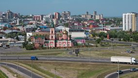 Timelapse of the city Barnaul view of the city and church, Altai, Russia stock footage