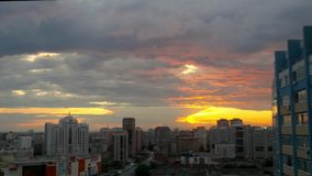 Timelapse of City during warm amazing sunset and. Beautiful sky. Novosibirsk. 1920x1080 stock footage