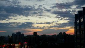 Timelapse of City during warm amazing sunset and. Beautiful sky. Novosibirsk. 1920x1080 stock video footage