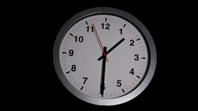 Timelapse of classic wall clock with gray frame and black and red clock hands.  stock footage