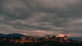 Timelapse with clouds of Alhambra Royalty Free Stock Photography
