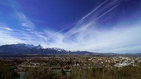 Timelapse clouds moving over the Thun city in Alps. stock video footage