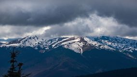 Timelapse of clouds over the Carpathian Mountains. Timelapse clouds on a spring day over the Carpathian Mountains stock video footage