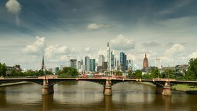 Timelapse - Clouds over the cityscape of Frankfurt stock video