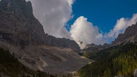 Timelapse of clouds over Lago Di Sorapis Lake Mountain Italy Dolomites stock video