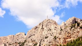 Timelapse, clouds over mount Sainte Victoire, Aix en Provence. France stock footage