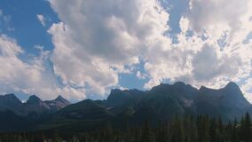 Timelapse clouds over mountains near Banff National Park in Alberta Canada