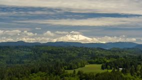 Timelapse of clouds over Mt. Hood and Sandy river valley in Portland or spring stock footage