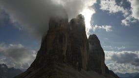 Timelapse clouds over Tre Cime di Lavaredo, Dolomite stock footage