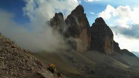 Timelapse clouds over Tre Cime di Lavaredo, Dolomite stock video footage