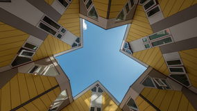 Timelapse of clouds in the sky among Cube Houses, Rotterdam stock footage