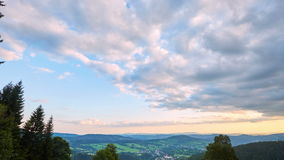 Timelapse of clouds before sunset. From Krkonose, Czech Republic stock video